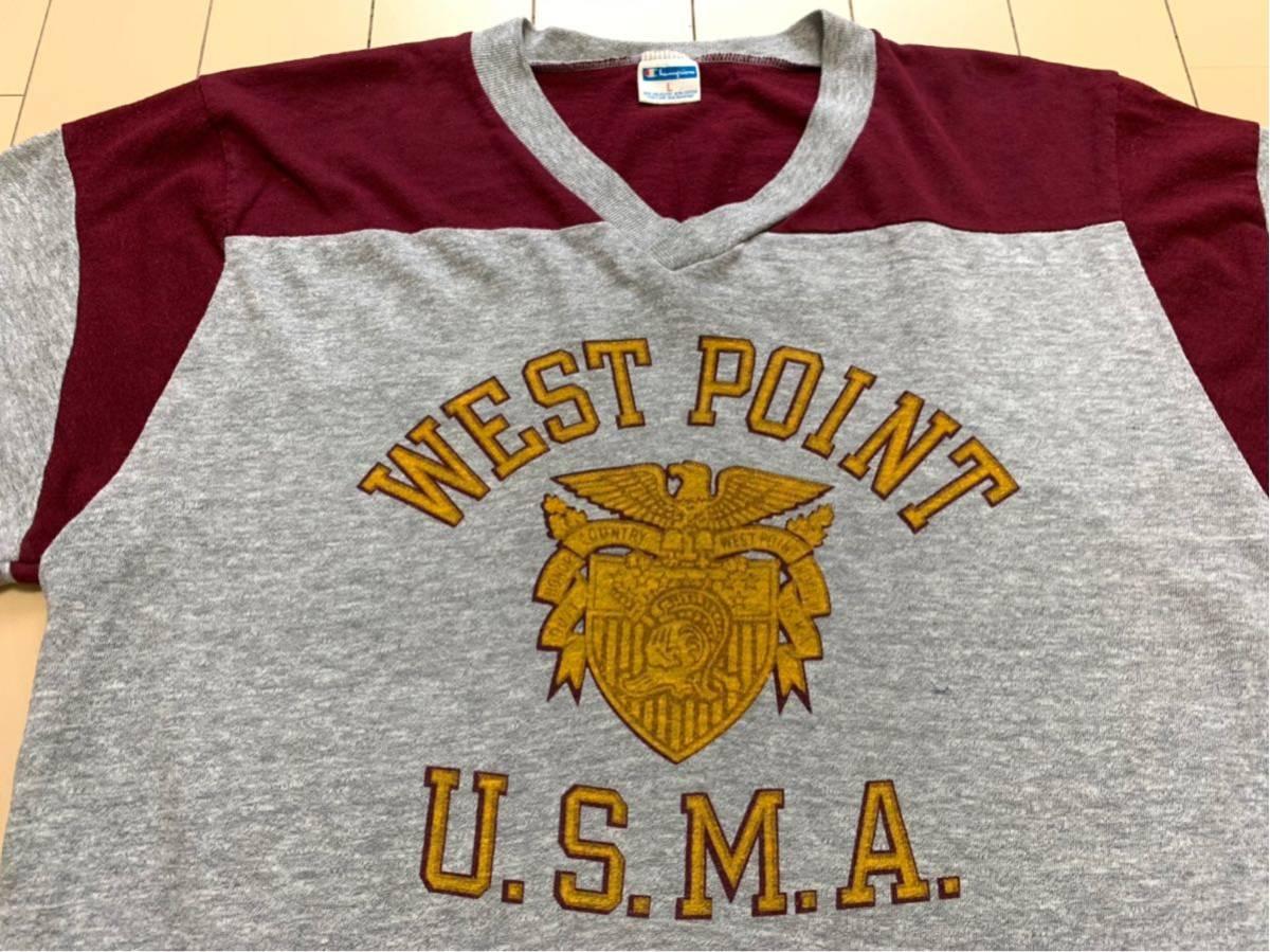 70's CHAMPION バータグ U.S.M.A WEST POINT 霜降り 染み込みプリント Tシャツ USA製 / ビンテージ 70年代 チャンピオン 50's ランタグNAVY_画像2