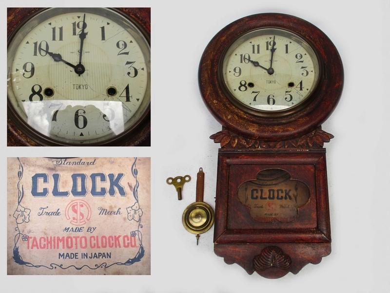 稀■古掛け時計[TACHIMOTO CLOCK ゼンマイ掛時計]■ 彫刻 柱時計 振り子 ボンボン 動作 5178■_横幅約31cm ×縦長約56cm