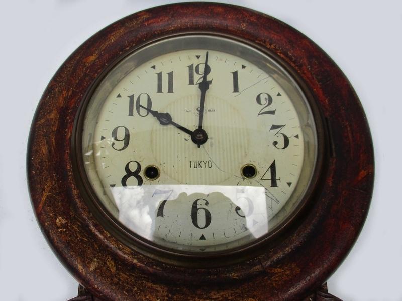 稀■古掛け時計[TACHIMOTO CLOCK ゼンマイ掛時計]■ 彫刻 柱時計 振り子 ボンボン 動作 5178■_画像2