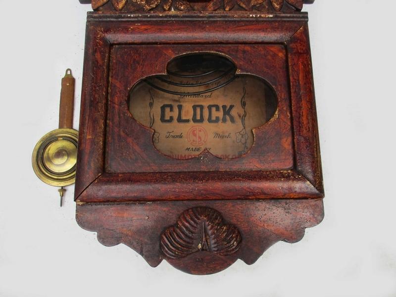 稀■古掛け時計[TACHIMOTO CLOCK ゼンマイ掛時計]■ 彫刻 柱時計 振り子 ボンボン 動作 5178■_画像3