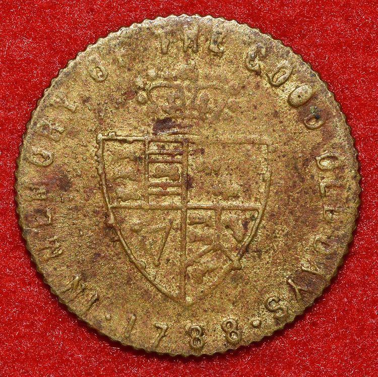 18世紀イギリス スペードギニー金貨 ジョージ3世 賭博用カウンタートークン 真鍮貨 黄銅貨 英国 UK アンティークコイン 海外古銭 希少_画像2