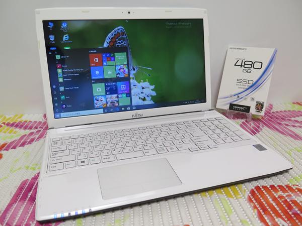 【高速Core i7(Haswell)第4世代★爆速新SSD480GB】AH53/R 富士通 ホワイト 最新Windows10 ★ メモリ8GB Blu-ray搭載 HDMI Wi-Fi Office2016