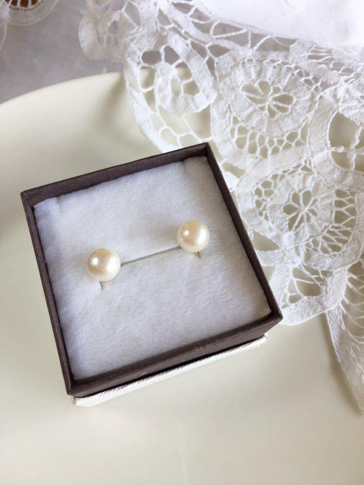 あこや真珠 パール 一粒イヤリング あこやパール 8.5mm 本真珠 アコヤ真珠 ゴールドカラー シリコンカバー付き パールイヤリング _画像2