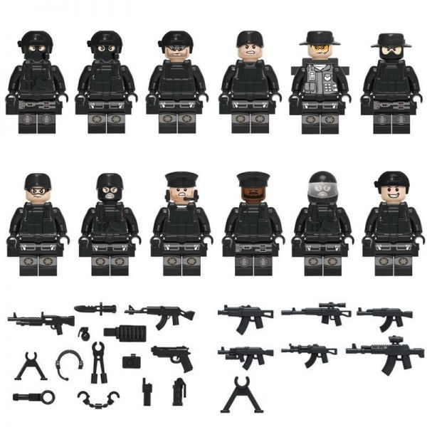 MOC LEGO レゴ 互換 SWAT 特殊部隊 カスタム ミニフィグ 12体セット 武器・装備・兵器付き D179_画像1