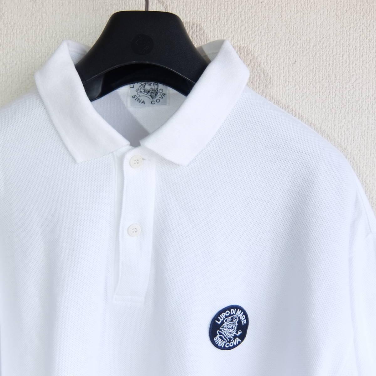 SINA COVA シナコバ ワッペン付き 長袖 ポロシャツ ホワイト Lサイズ