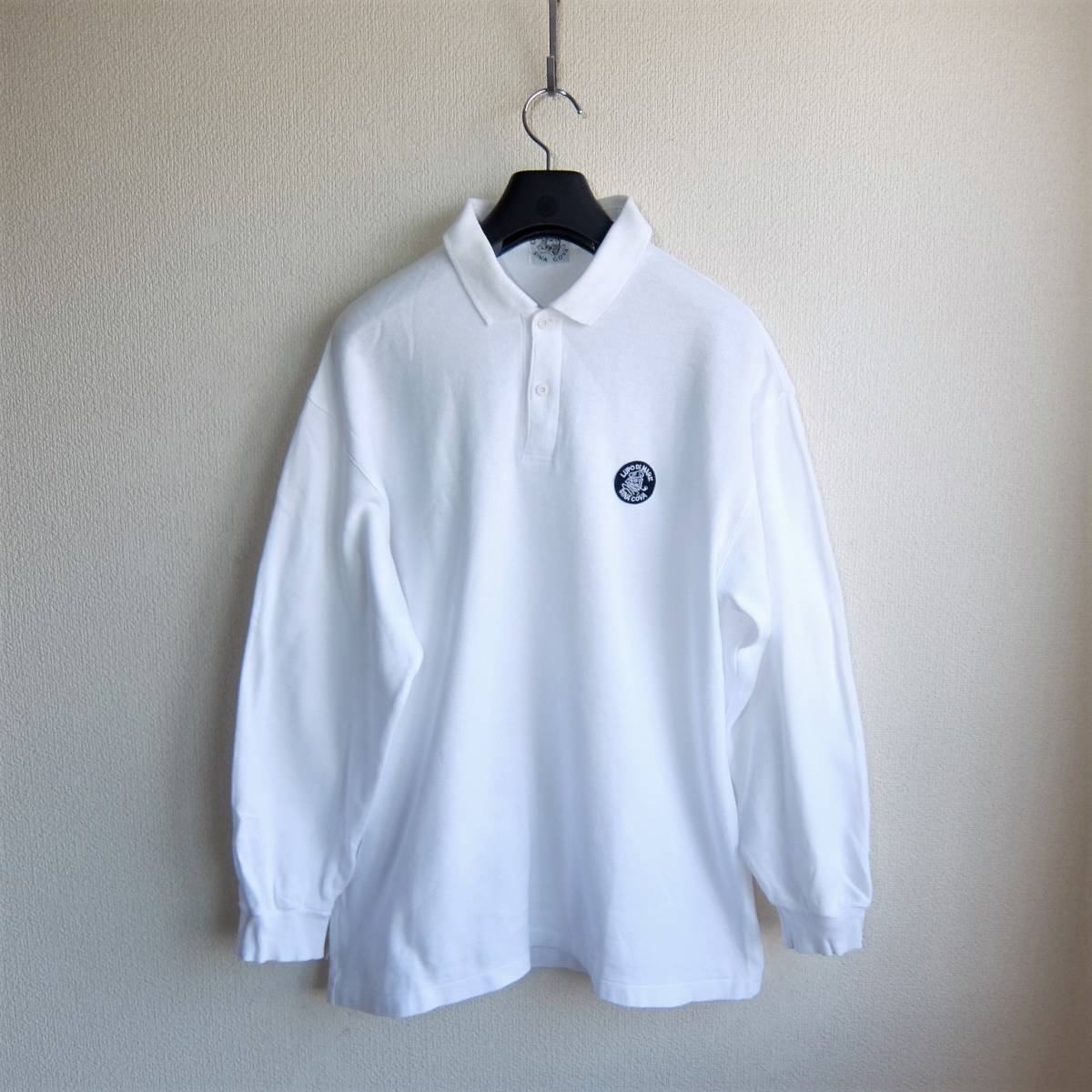 SINA COVA シナコバ ワッペン付き 長袖 ポロシャツ ホワイト Lサイズ_画像2