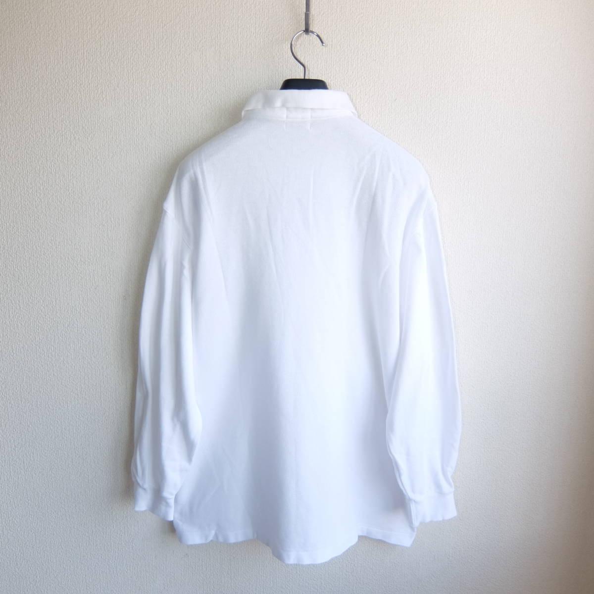 SINA COVA シナコバ ワッペン付き 長袖 ポロシャツ ホワイト Lサイズ_画像3