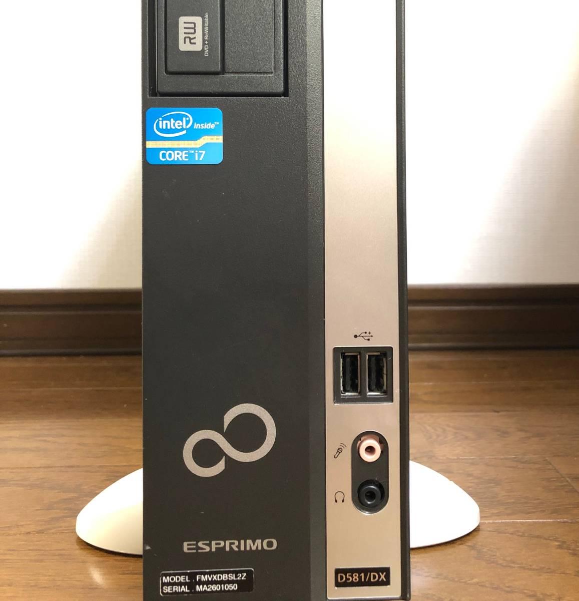 ▼富士通▼小型PC/超高速 i7(3.8Gx8)/新品SSD960GB/大容量16Gメモリ/Office2019/Win10/無線LAN(Wi-Fi)/静音/送料無料/ESPRIMO D581/DX改_画像4