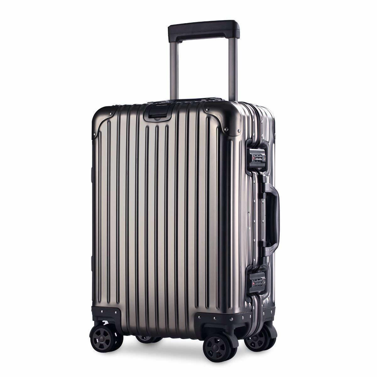 スーツケース アルミマグネシウム合金 キャリーバッグ 360度回転 静音キャスター TSAロック フレームタイプ 保護カバー付 軽量 新品未使用