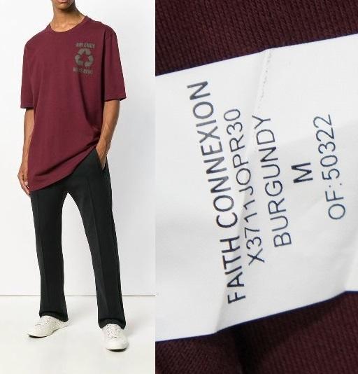 正規19SS FAITH CONNEXIONフェイスコネクション オーバーサイズ Tシャツ 半袖カットソー X3711JOPR30 エンジ819J_画像9