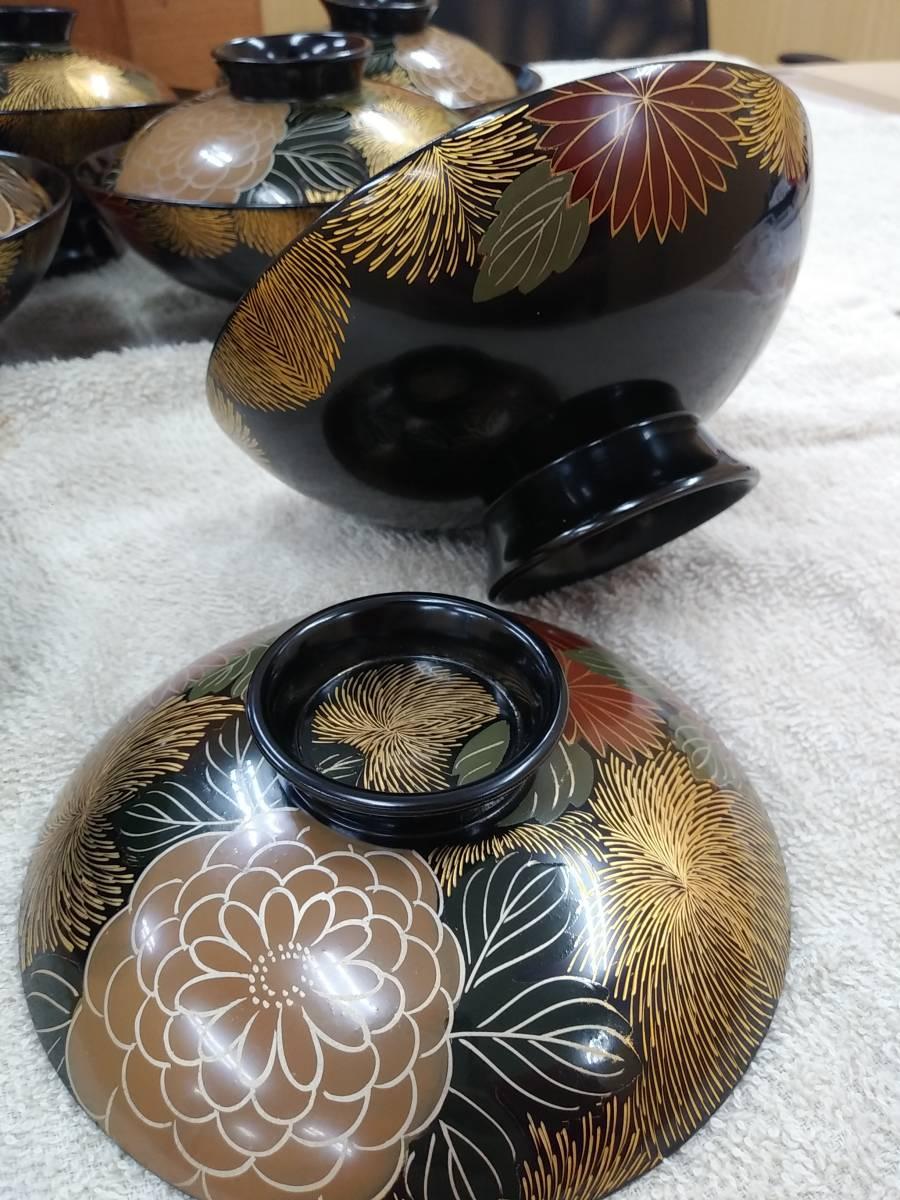 □輪島塗 蓋付 吸い物碗 10客セット/揃 汁椀 共箱付 漆器 懐石道具 美品/ほぼ未使用□_画像4