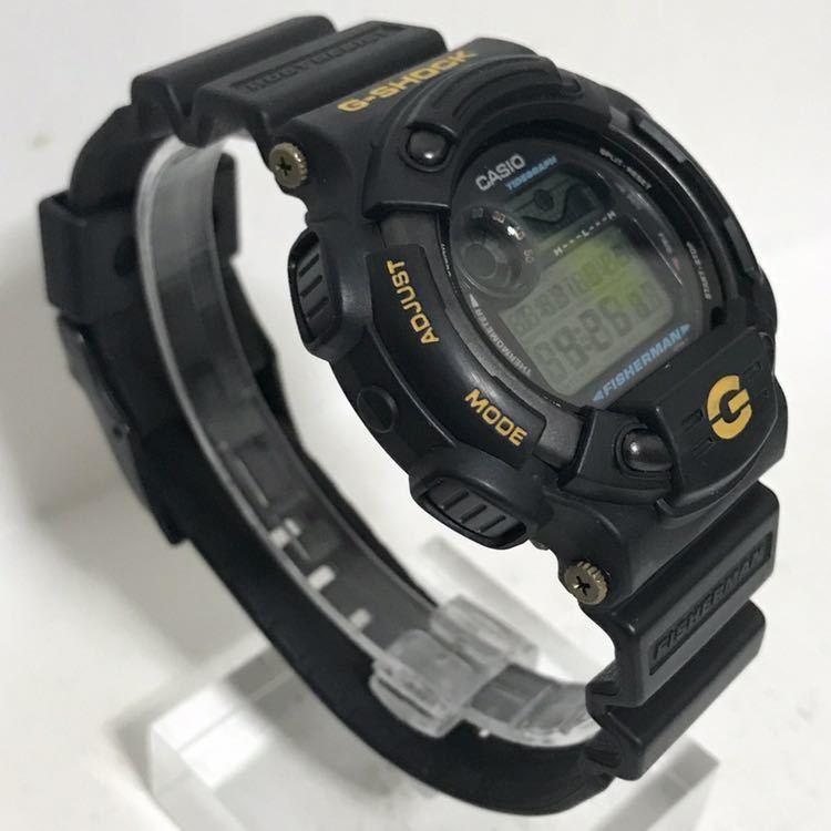 美品 CASIO G-SHOCK DW-8600BJ-1 FISHERMAN フィッシャーマン チタン ブラック ゴールド タイドグラフ Gショック_画像6