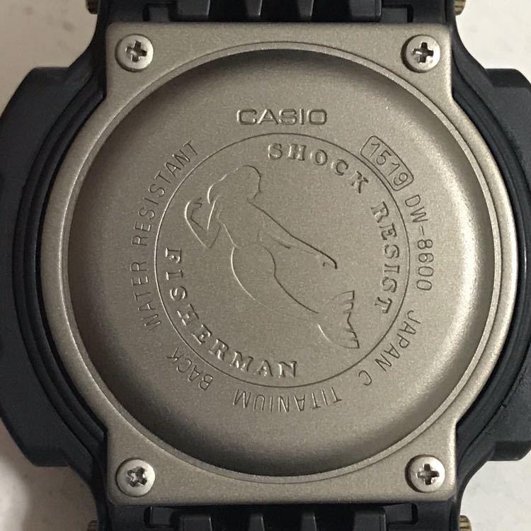 美品 CASIO G-SHOCK DW-8600BJ-1 FISHERMAN フィッシャーマン チタン ブラック ゴールド タイドグラフ Gショック_画像8