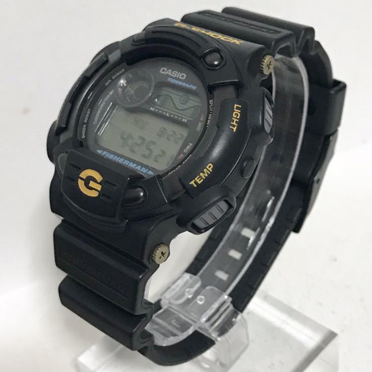 美品 CASIO G-SHOCK DW-8600BJ-1 FISHERMAN フィッシャーマン チタン ブラック ゴールド タイドグラフ Gショック_画像7