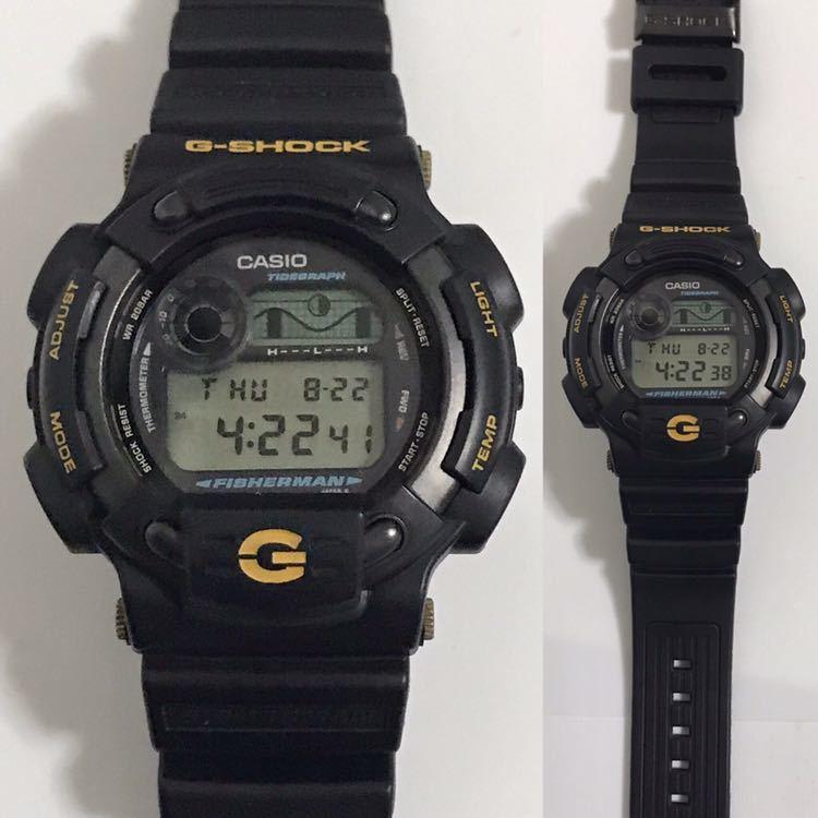 美品 CASIO G-SHOCK DW-8600BJ-1 FISHERMAN フィッシャーマン チタン ブラック ゴールド タイドグラフ Gショック_画像3