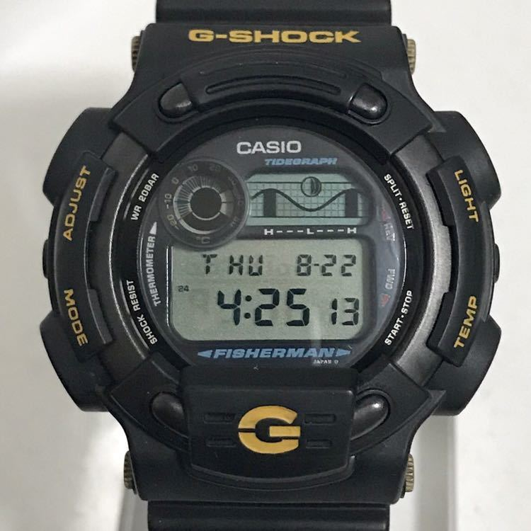 美品 CASIO G-SHOCK DW-8600BJ-1 FISHERMAN フィッシャーマン チタン ブラック ゴールド タイドグラフ Gショック