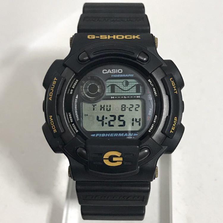 美品 CASIO G-SHOCK DW-8600BJ-1 FISHERMAN フィッシャーマン チタン ブラック ゴールド タイドグラフ Gショック_画像5