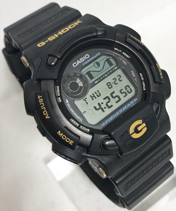 美品 CASIO G-SHOCK DW-8600BJ-1 FISHERMAN フィッシャーマン チタン ブラック ゴールド タイドグラフ Gショック_画像2