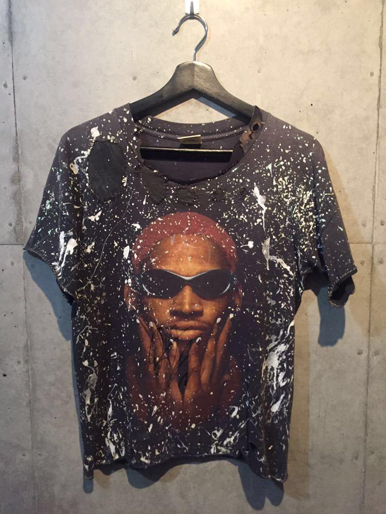 世界で1枚!ロッドマン 本物直筆サイン入り 超激レア '90s USA産 NBA ビンテージ Tシャツ リメイク XLサイズ バスケ 黒 Dennis Rodman_画像2