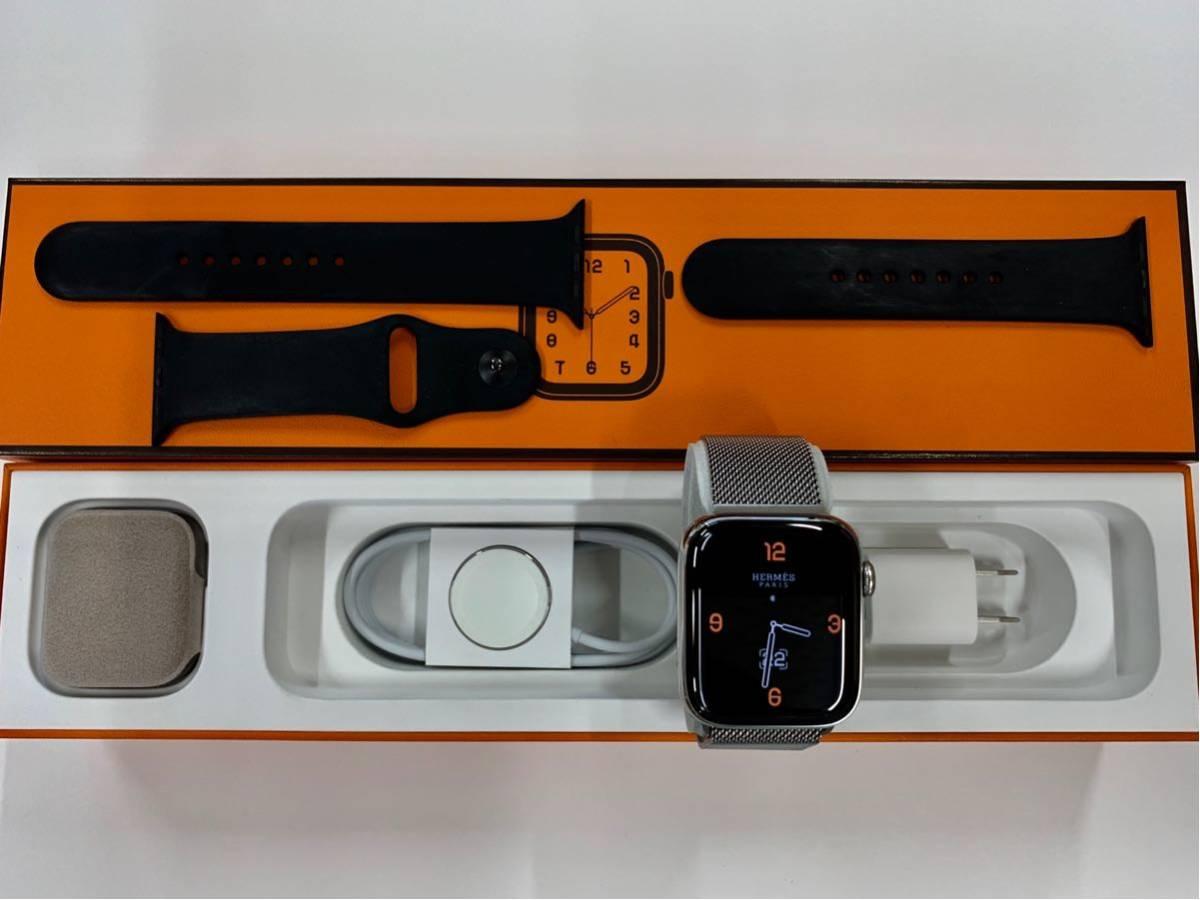 【即決美品】 Apple watch HERMES ミラネーゼループ Series4 44mm 純正 エルメス Cellular ステンレス Applewatch HERMS アップルウォッチ