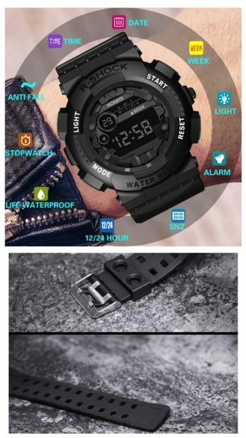 腕時計 スポーツ腕時計 デジタル時計 LEDライト ミリタリー スポーツ アウトドア ランニング アウトドア アクリルケース ブラック21_画像2
