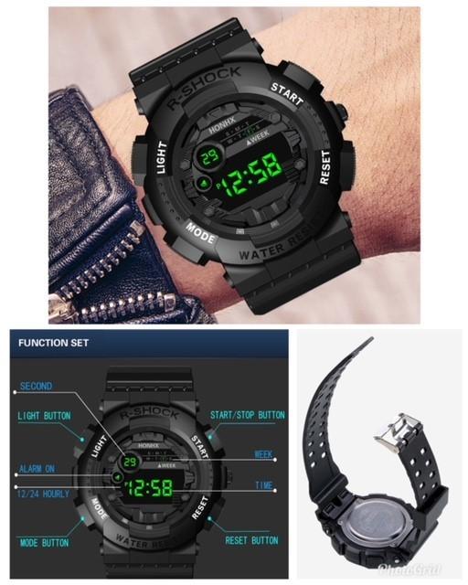 腕時計 スポーツ腕時計 デジタル時計 LEDライト ミリタリー スポーツ アウトドア ランニング アウトドア アクリルケース ブラック21_画像3
