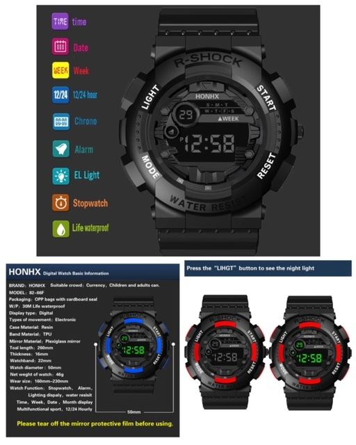 腕時計 スポーツ腕時計 デジタル時計 LEDライト ミリタリー スポーツ アウトドア ランニング アウトドア アクリルケース ブラック21_画像4