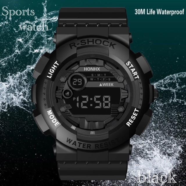 腕時計 スポーツ腕時計 デジタル時計 LEDライト ミリタリー スポーツ アウトドア ランニング アウトドア アクリルケース ブラック21_画像1