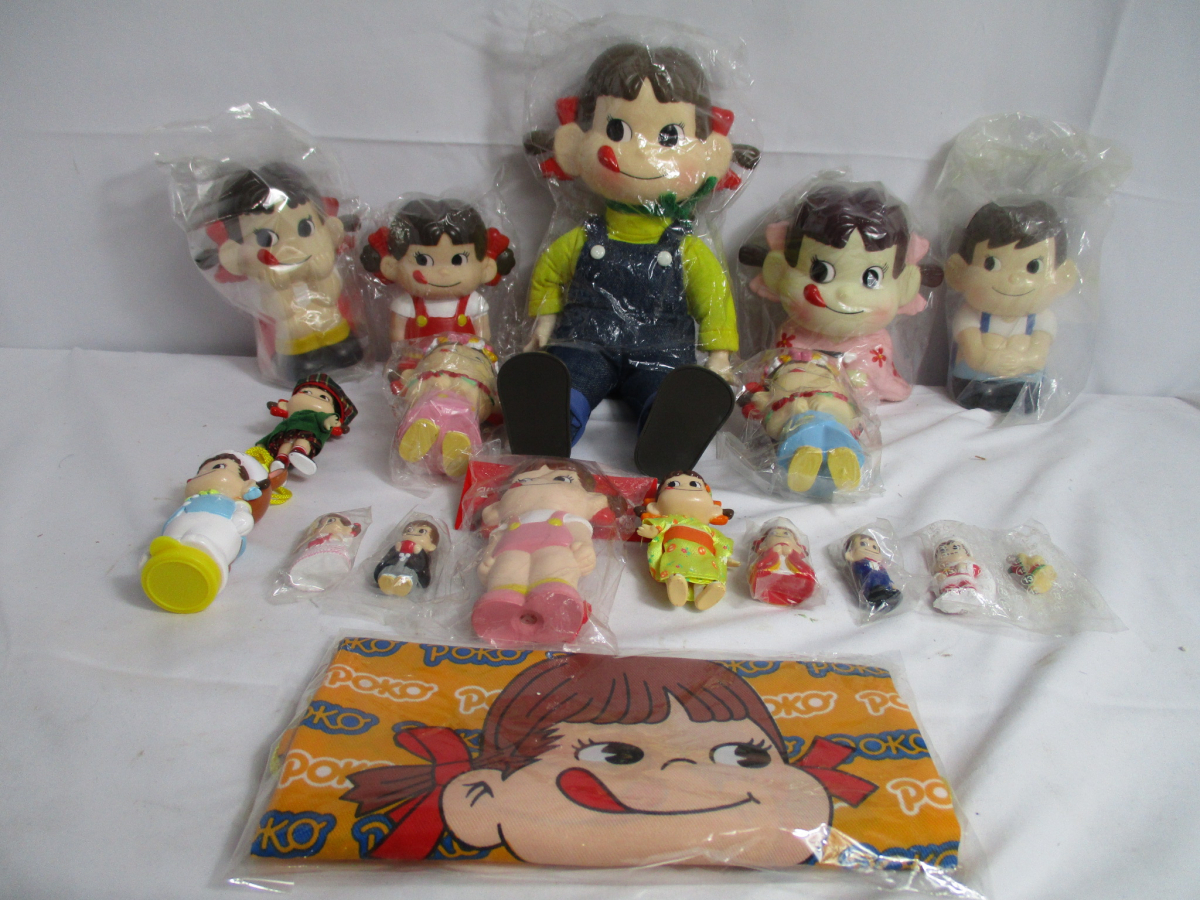 08CPW ペコちゃん ポコちゃん まとめ 不二家 人形 30㎝ 置物 やわらか人形 キーホルダー