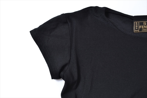 ◇FENDI JEANS◇size44(ITALY) S/S T-shirt tops/made in italy フェンディジーンズ 半袖Tシャツ トップス ブラック イタリア製 65-311_画像2