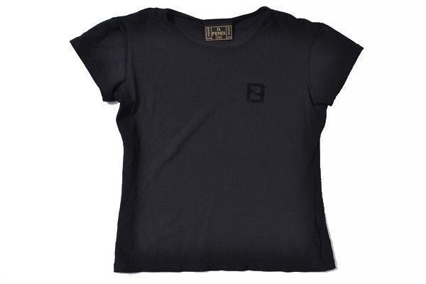 ◇FENDI JEANS◇size44(ITALY) S/S T-shirt tops/made in italy フェンディジーンズ 半袖Tシャツ トップス ブラック イタリア製 65-311_画像1