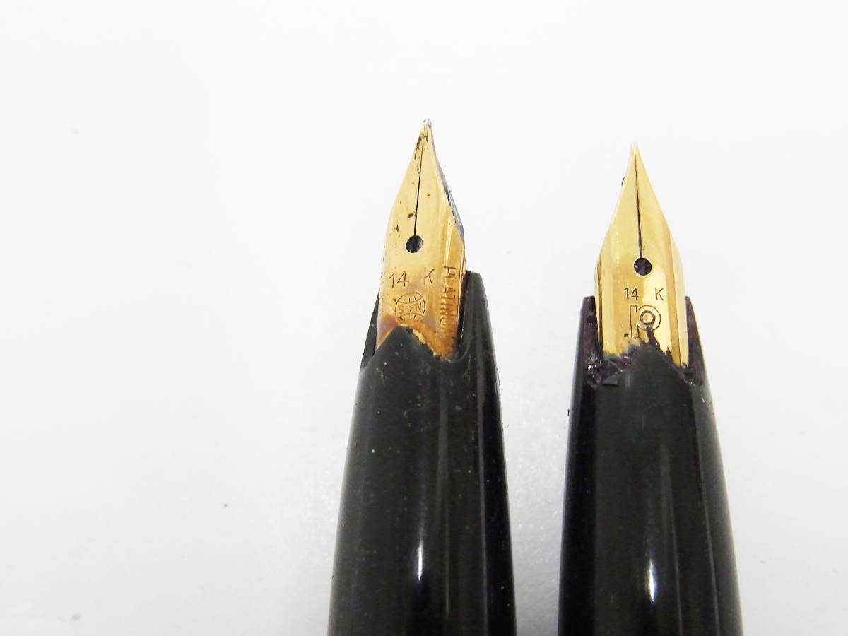 ◇1円~ ビンテージ PLATINUM/プラチナ 万年筆 まとめて10本セット ペン先刻印:14K ジャンク品◇ _画像3