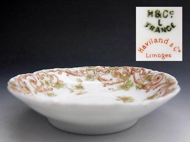 リモージュ窯 蔓草 アラベスク文様 豆皿 ◆ 仏蘭西 アビランド_画像2