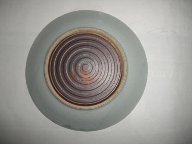 @@ 昭和レトロ 鹿 鹿の絵図 青磁 青白磁 皿 皿立て付 アンティーク コレクション インテリア 雑貨 その他 陽刻紋様 _画像4