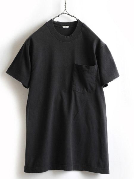 70s ビンテージ 人気の 黒 ■ 耳付き ポケット付 半袖Tシャツ ( メンズ 男性 M 程 ) ポケT 無地 ブラック 半袖 Tシャツ シングルステッチ_画像1