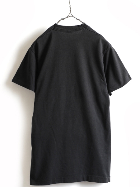 70s ビンテージ 人気の 黒 ■ 耳付き ポケット付 半袖Tシャツ ( メンズ 男性 M 程 ) ポケT 無地 ブラック 半袖 Tシャツ シングルステッチ_画像4