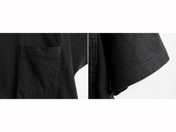 70s ビンテージ 人気の 黒 ■ 耳付き ポケット付 半袖Tシャツ ( メンズ 男性 M 程 ) ポケT 無地 ブラック 半袖 Tシャツ シングルステッチ_画像3