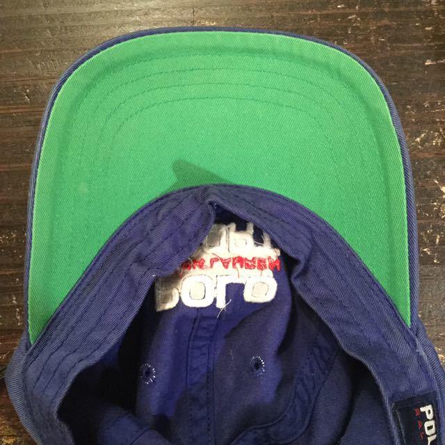90s POLO SPORT 刺繍 ロゴ キャップ 帽子 / 90年代 ポロ スポーツ ラルフローレン RL 92 93 Ralph Lauren 青 ブルー 星条旗 ビンテージ _画像5