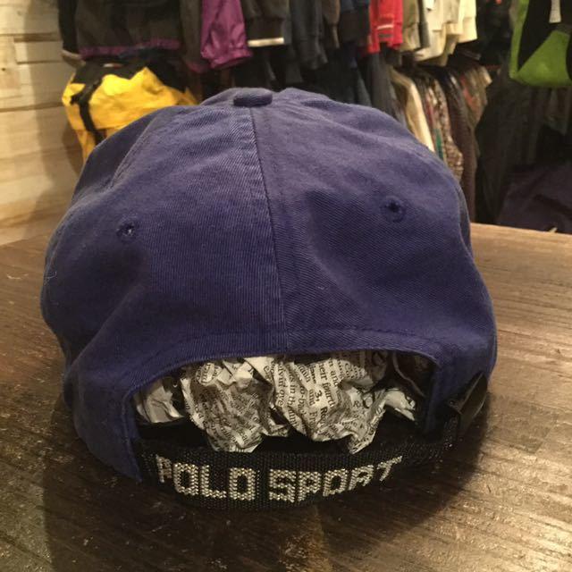 90s POLO SPORT 刺繍 ロゴ キャップ 帽子 / 90年代 ポロ スポーツ ラルフローレン RL 92 93 Ralph Lauren 青 ブルー 星条旗 ビンテージ _画像3