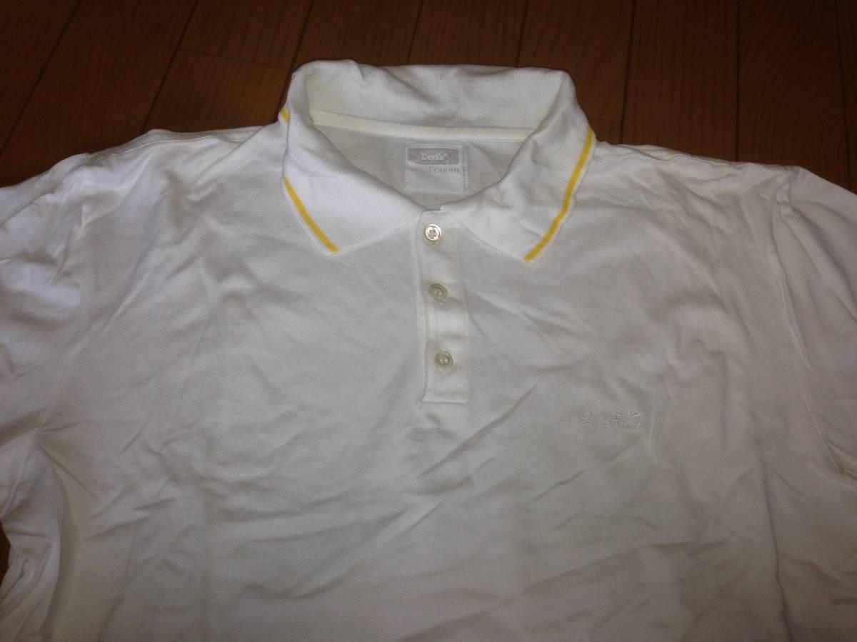 フラグメントデザイン FRAGMENT DESIGN フェノム FENOM リーバイス LEVI'S 半袖ポロシャツ 日本製 L ホワイト 白 イエロー 黄_画像2