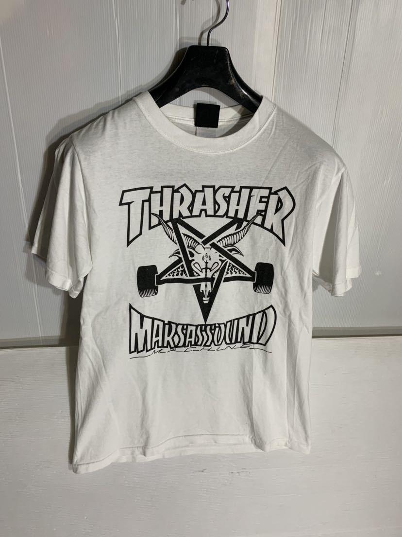 THRASHER スラッシャー × MARSAS SOUND MACHINE マーサスサウンドマシーン 山羊頭 666 半袖 ロックTシャツ バンドTシャツ ツアーT 白 S_画像2