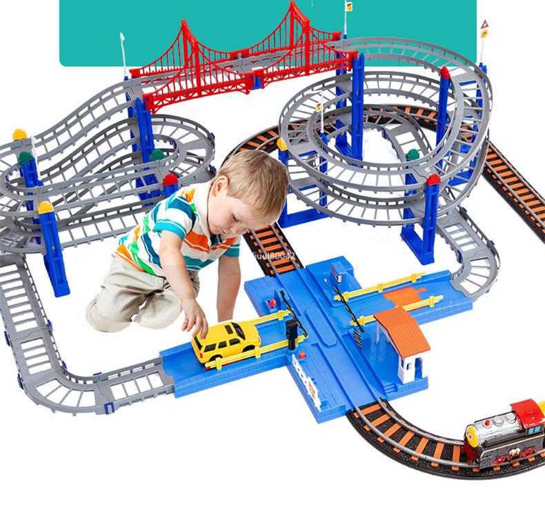 強烈推薦★トーマストレインセット 軌道電動カー 恐竜ジェットコースター 特大軌道シーン 陸橋軌道 子供おもちゃ パズル 充電式 R87-230_画像2