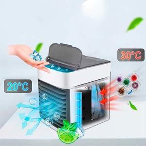 【最新版2019】【新品】Winhi 卓上扇風機 冷風扇風機 卓上冷風扇 最新バージョン コンパクト 風量3段階 小型 気化式冷風機 強風 加湿機能_画像3