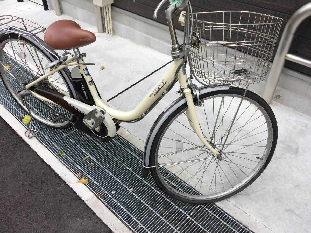 地域限定 ヤマハ パス リチウム 26インチ 8,1AH アイボリー アシスタ ビビ 神戸市 電動自転車_画像5
