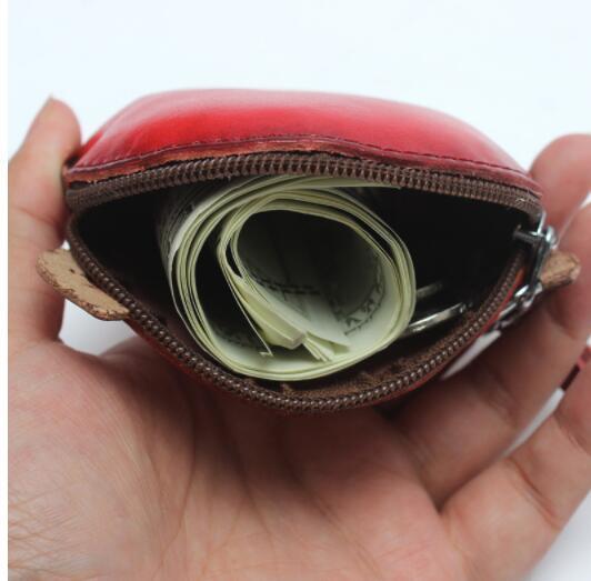 12C028 小銭入れ コインケース レディース 財布 Handmade 手作り 本革 レザー かわいい 可愛い てんとう虫 人気 素敵 通勤出張旅行_画像6
