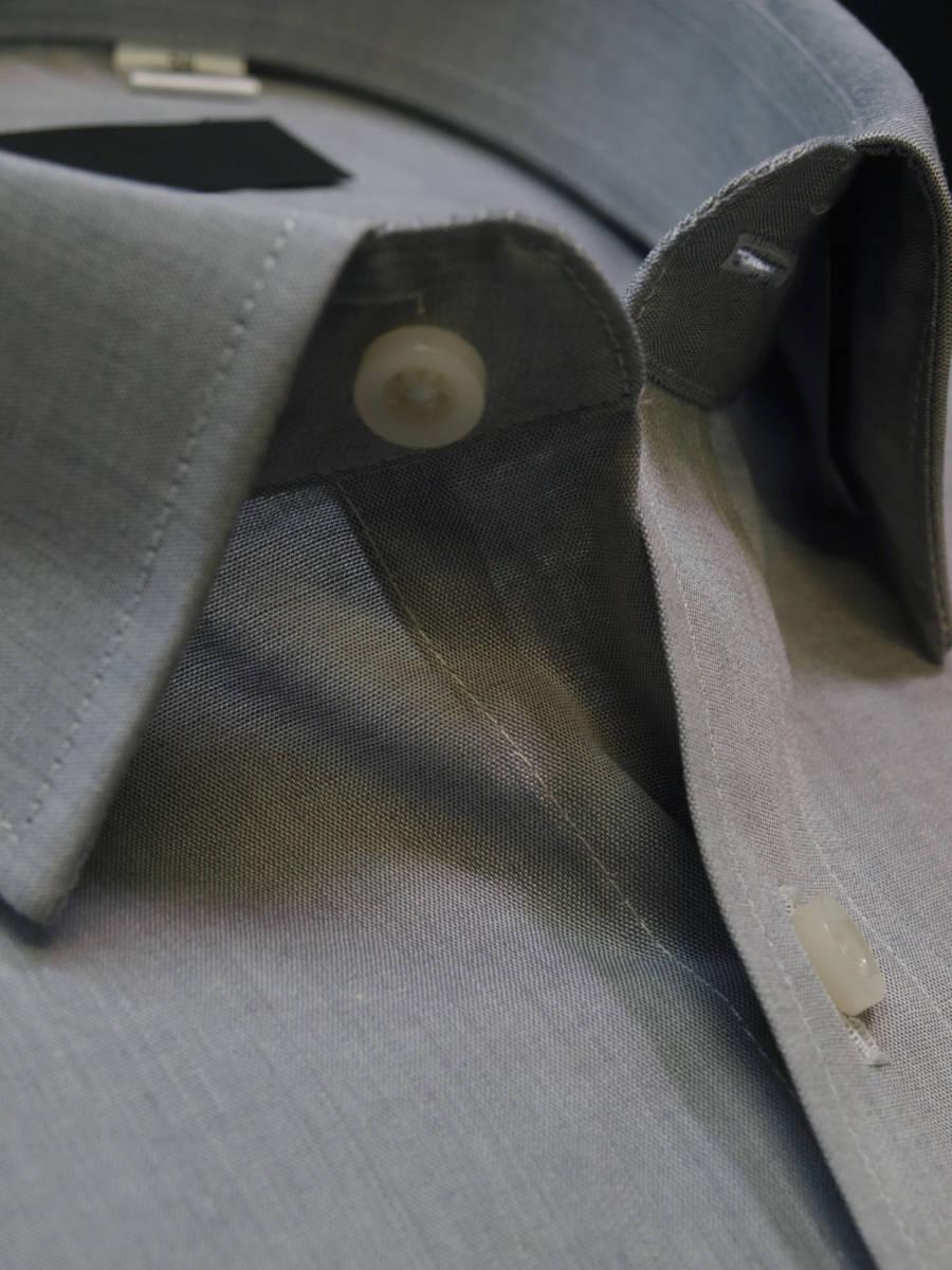 ◇M/38-82グレー無地/レギュラーカラー/形態安定/綿100%/長袖ビジネスワイシャツ/新品即決_画像1