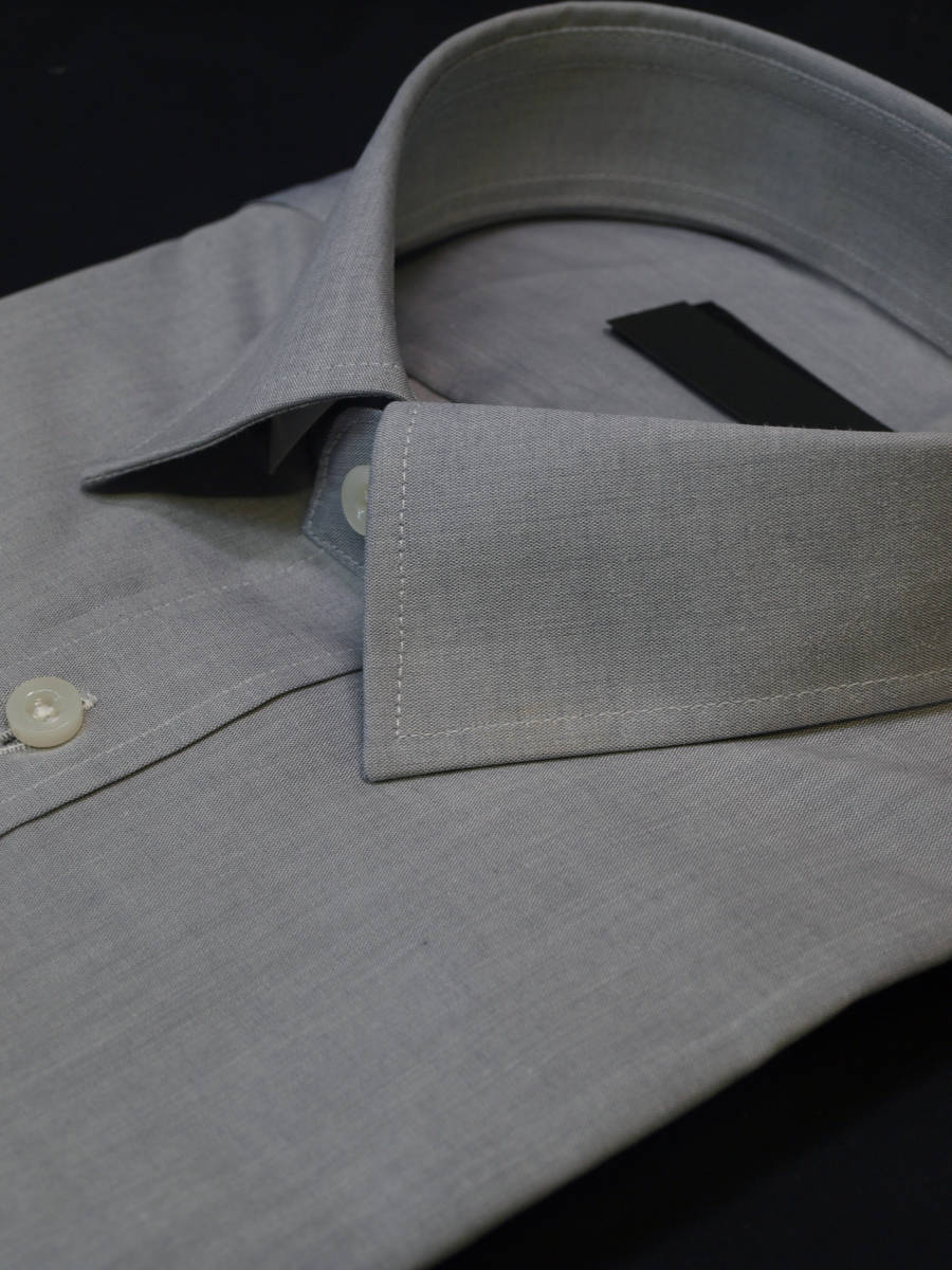 ◇M/38-82グレー無地/レギュラーカラー/形態安定/綿100%/長袖ビジネスワイシャツ/新品即決_画像3