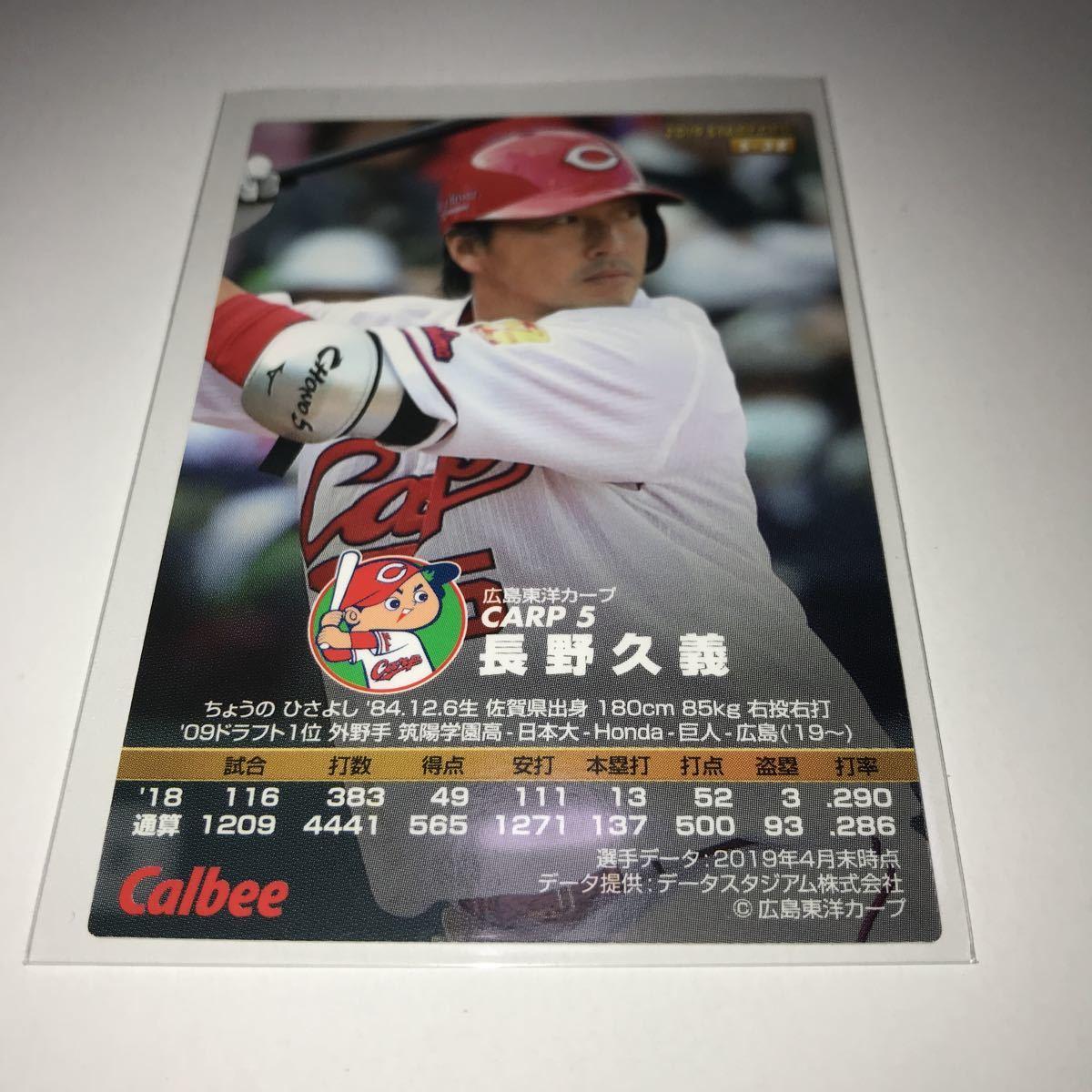 カルビー プロ野球チップス 広島カープ 長野久義 金箔サインカード 2019年_画像2