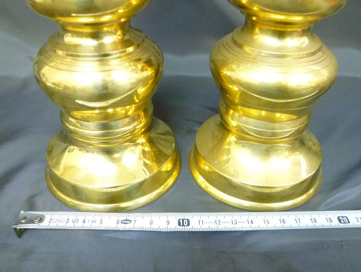 仏具 燭台一対 高さ約39㎝ 獅子 蝋燭立て 蝋燭台 仏壇 中古_画像3