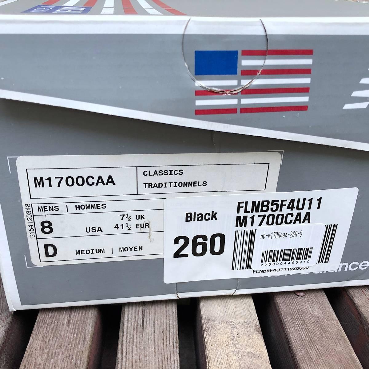 USA製 廃番 限定モデル NEW BALANCE M1700CAA BLACK×GRAY US8D 26cm 復刻 レザー 新品 アメリカ製 米国製 ブラック×グレー_画像9